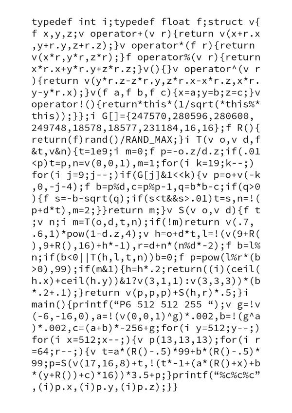 Decyphering The Business Card Raytracer Wetterhorn